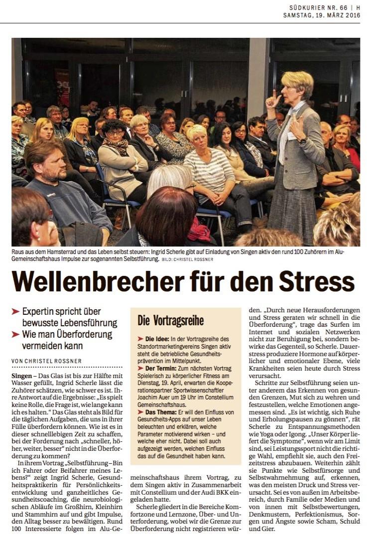 Ingrid Scherle - Bericht im Südkurier